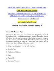 ASHFORD ANT 101 Week 5 Final Cultural Research Paper/ Tutorialrank