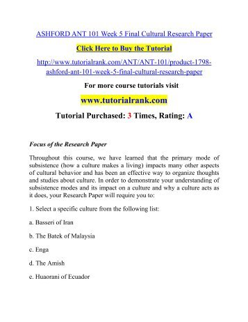 ASHFORD ANT 101 Week 5 Final Cultural Research Paper/ Tutorialrank