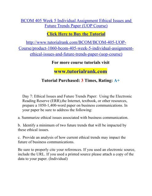 BCOM 405 Week 5 Individual Assignment Ethical Issues and