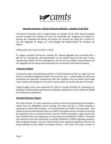 Executive Summary October 2013 - CAMTS