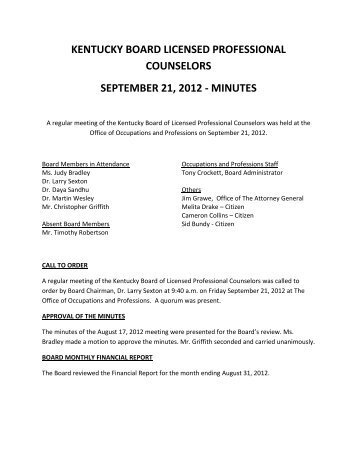 minutes - Board of Licensed Professional Counselors