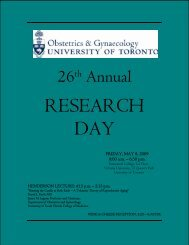 research day - University of Toronto Department of Obstetrics and ...
