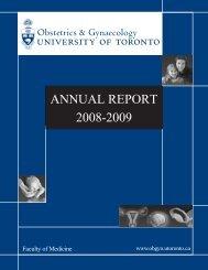 ANNUAL REPORT 2008-2009 - University of Toronto Department of ...