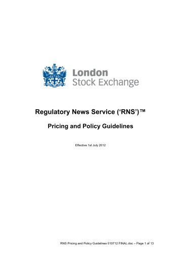 RNS Pricing and Policy Guidelines - London Stock Exchange