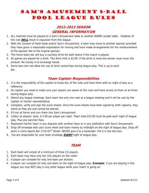 Sam's Amusement 8-Ball Pool League Rules