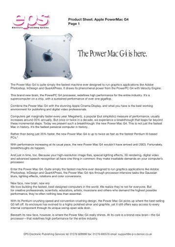Product Sheet Apple PowerMac G4 Page 1