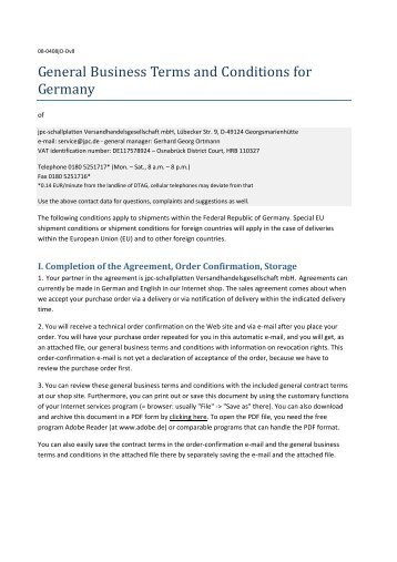 General Business Terms and Conditions for Germany