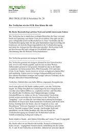 PRO TROLLEYBUS Newsletter Nr 28 Der Trolleybus wie der FCB Eine Klasse für sich