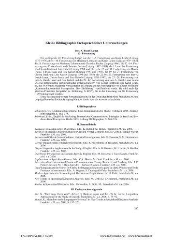 Kleine Bibliographie fachsprachlicher Untersuchungen