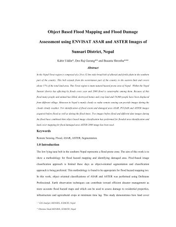 Object Based Flood Mapping and Flood Damage Assessment using ...