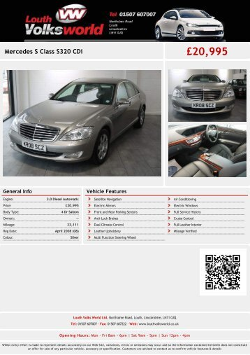 Mercedes S Class S320 CDi £20995 - Louth Volks World