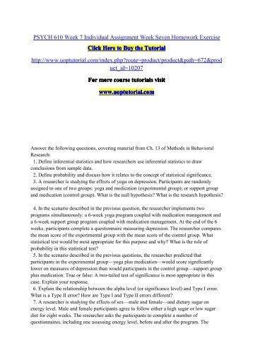 PSYCH 610 WEEK 5 Week Five Homework Exercise help