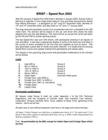 BRIEF – Speed Run 2003 - Indian Motorsport