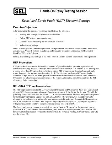 Hands-On Relay Testing Session Restricted Earth Fault (REF) Element Settings