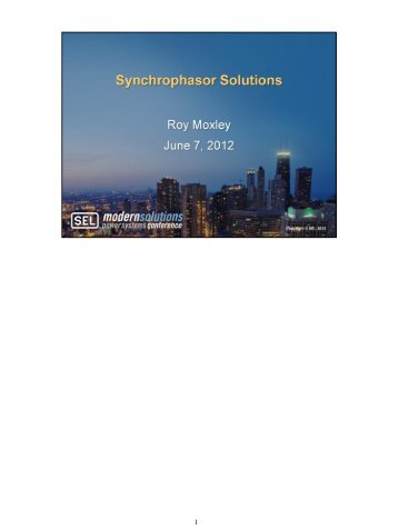 Synchrophasor Solutions - CacheFly