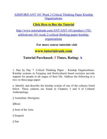 Critical thinking application paper kinship organizations custom essays by native english writers