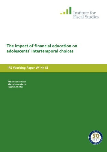 The impact of financial education on adolescents' intertemporal choices