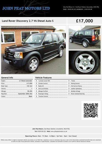 Land Rover Discovery V6 Diesel Automatic ... - John Peat Motors