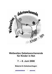 Weltweites Gebetswochenende für Kinder in Not 7 – 8 Juni 2008