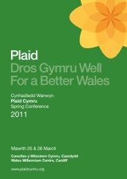 Lawrlwytho rhaglen y gynhadledd 2011 [pdf] - Plaid Cymru