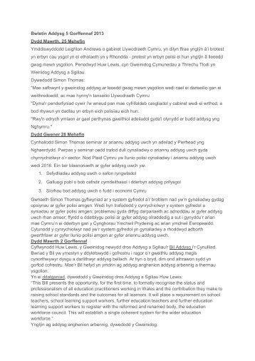 Bwletin Addysg 5 Gorffennaf 2013 Dydd Mawrth, 25 ... - Plaid Cymru