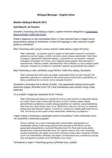 Bilingual Message – English below Bwletin Addysg 6 ... - Plaid Cymru