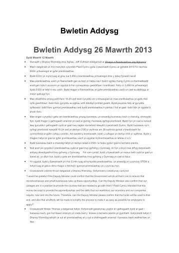 Bwletin Addysg Bwletin Addysg 26 Mawrth 2013