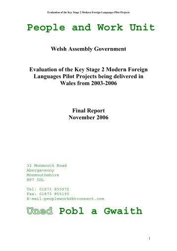 People and Work Unit Pobl a Gwaith