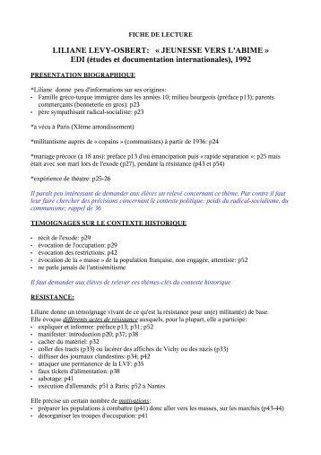 LILIANE LEVY-OSBERT - Cercle d'étude de la Déportation et de la ...