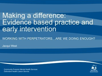 Evidence based practice and early intervention