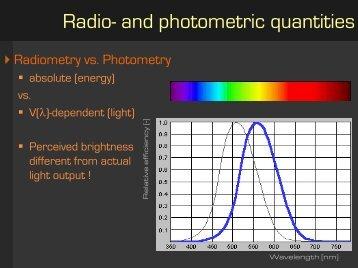 Radio- and photometric quantities