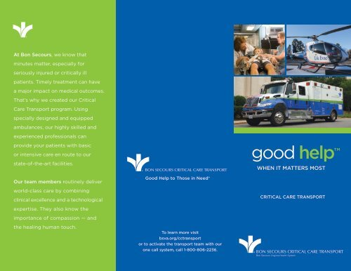critical care transport brochure - Bon Secours Richmond Health ...
