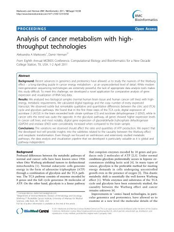Analysis of cancer metabolism with high ... - BioMed Central