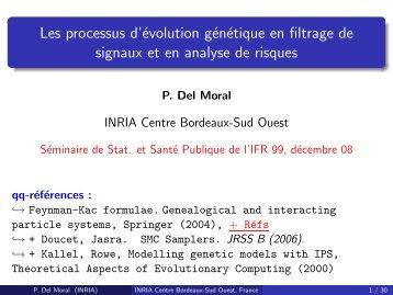 Les processus d'évolution génétique en filtrage de signaux et en ...
