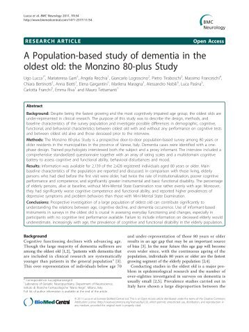A Population-based study of dementia in the oldest ... - BioMed Central