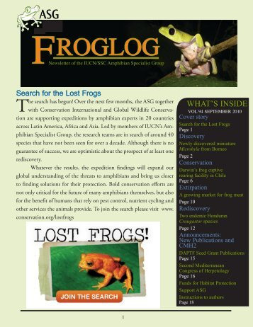 download the FrogLog 94 - Amphibian Specialist Group