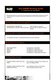 Sixt SABRE Booking Guide