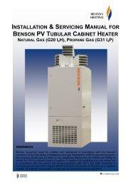 INSTALLATION & SERVICING MANUAL BENSON PV TUBULAR CABINET HEATER