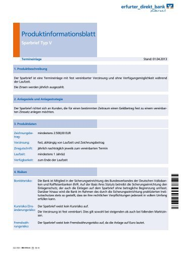 Produktinformationsblatt Sparbrief