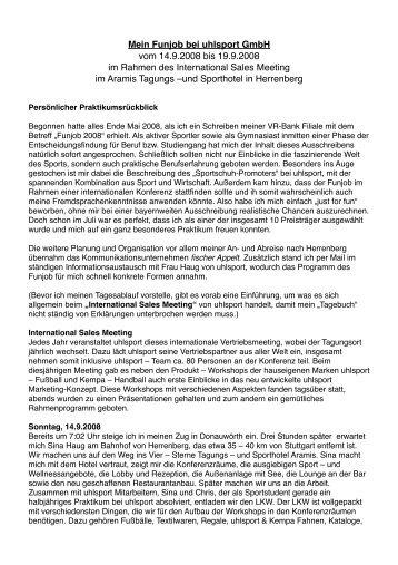 Mein Funjob bei uhlsport GmbH vom 14.9.2008 bis 19.9.2008 im ...
