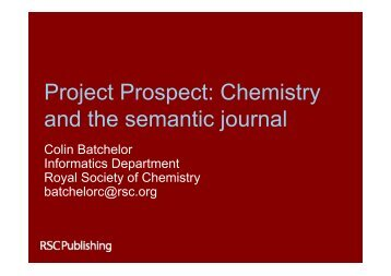 Project Prospect Chemistry and the semantic journal