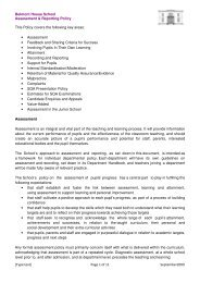 Assessment and Reporting Policy - Belmont House School