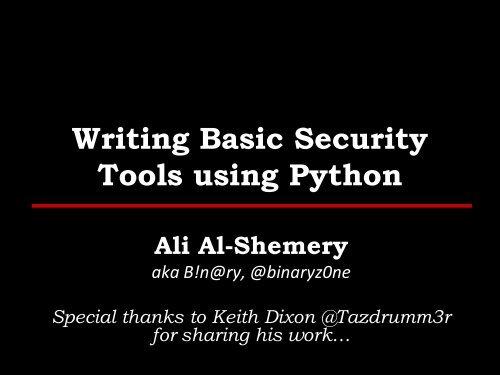Writing Basic Security Tools using Python