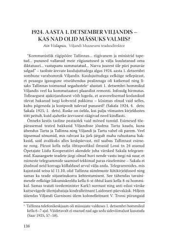 1924. aasta 1. detsember viljandis - Viljandi Muuseum - Viljandimaa