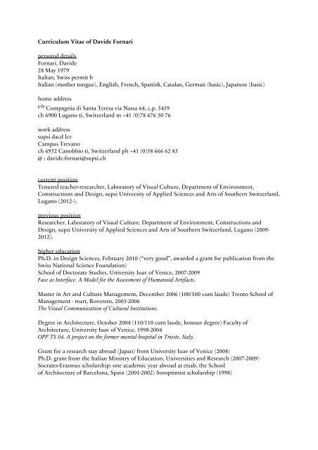 Curriculum Vitae Of Davide Fornari Personal Details Fornari Ecav