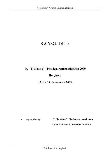 """RANGLISTE 16. """"Teufmoos"""" - Pistolengruppenschiessen 2009 ..."""