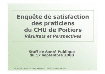 Enquête de satisfaction des praticiens du CHU de Poitiers