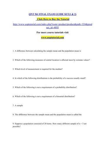 Qnt 561 descriptive statistics and probability distributions problem sets