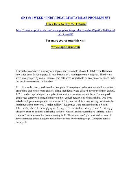 QNT 561 WEEK 4 INDIVIDUAL MYSTATSLAB PROBLEM SET Uoptutorial