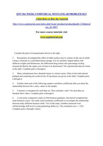 Do all questions for QNT 561 Week 5 Problem sets